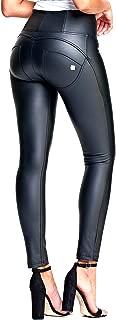 Freddy WR.UP Black Faux Leather Pants | High Waist, Full Length | Booty Boosting Pants w/Tone-on-Tone Zipper