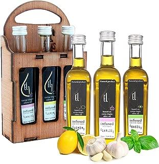 Pellas Nature | Fresh Organically Infused Extra Virgin Olive Oil | Garlic - Lemon - Basil | Wooden Gift Set | French Glass Bottles | 3 x 50ml