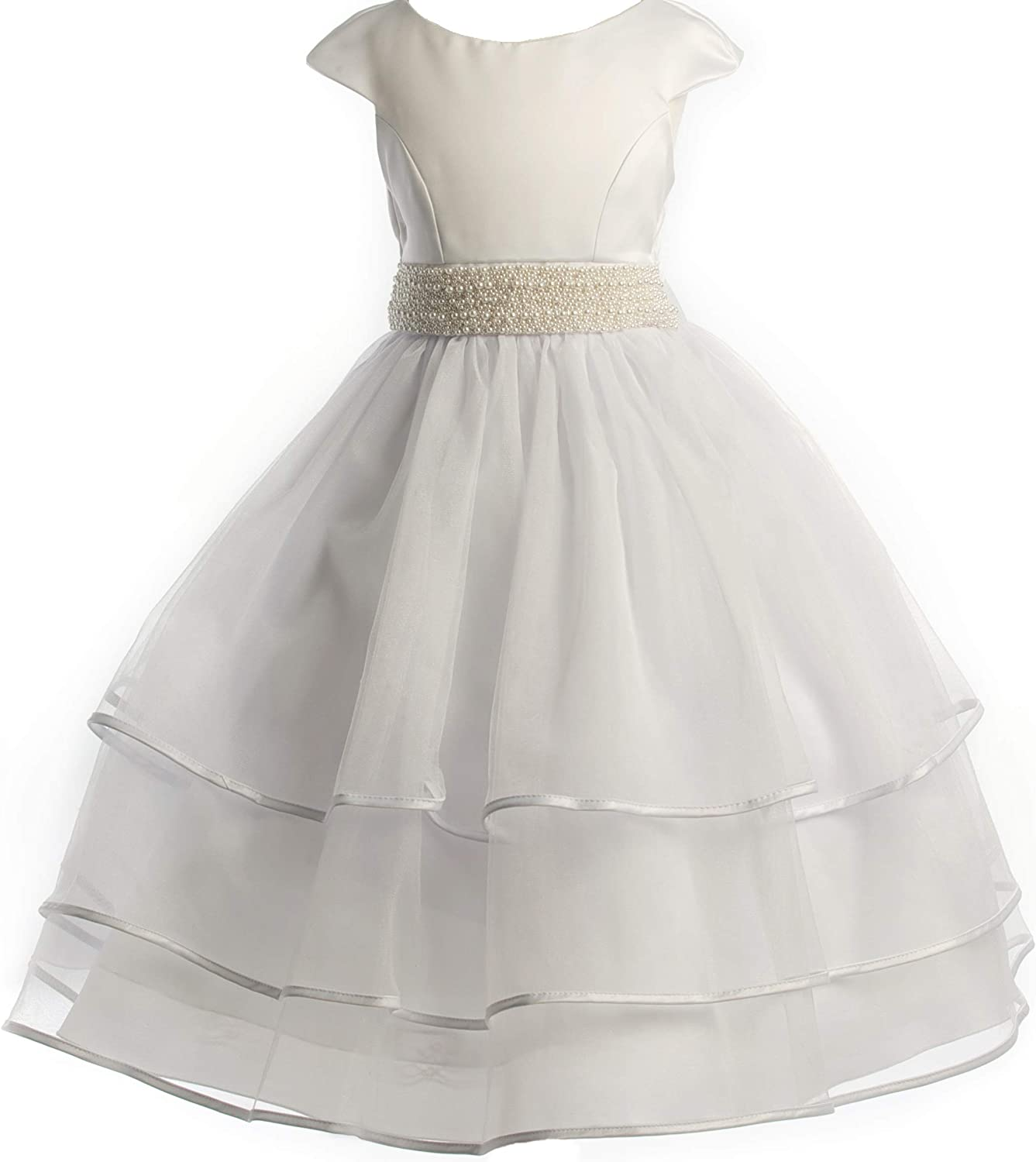 Little Girls Cap Sleeve Pearl Accented First Communion Flowers Girls Dresses USA