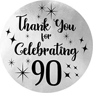 Black and Silver 90th Birthday Thank You Stickers - 1.75 in - 40 Labels