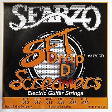 Amazon.co.jp: SFARZO ドロップDチューニング用ギター弦 .010-.052 SFT Screamers Electric Guitar Strings 3170DD スファーゾ エスエフティスクリーマー エレクトリックギターストリングス ライトゲージ ヘヴィボトム 国内正規品 [6個セット] : 楽器・音響機器