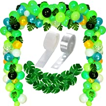 120 Pieces Jungle Theme Party Balloons Decorative Green Balloons Confetti Balloons and 20 Pieces Tropical Palm Leaves with Balloon Arch Garland Decorating Strip Kit for Tropical Jungle Animal Parties