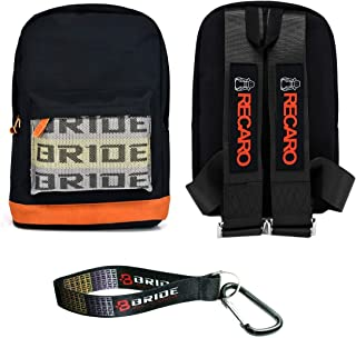 New Bride Racing Backpack With RECARO Racing Harness Shoulder Straps Black+Bride Key chain with Hook