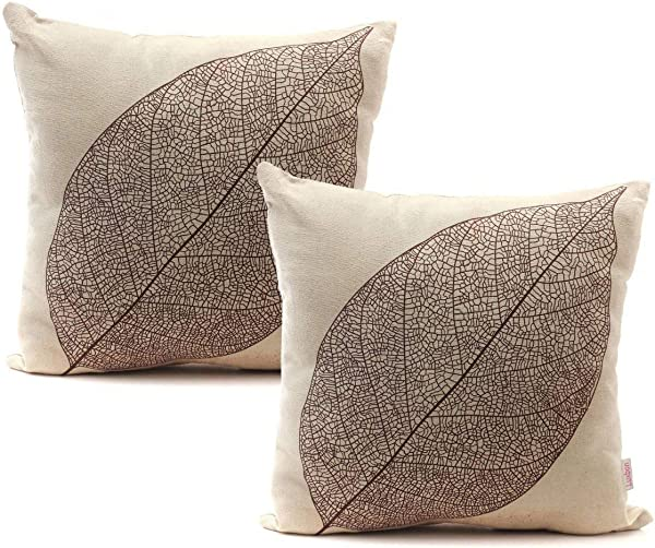 Luxbon Set Of 2Pcs Rustic Farmhouse Leaves Decor Cotton Linen Throw Pillow Cases Sofa Couch Chair Decorative Cushion Covers 18 X18 45x45cm Insert Not Included