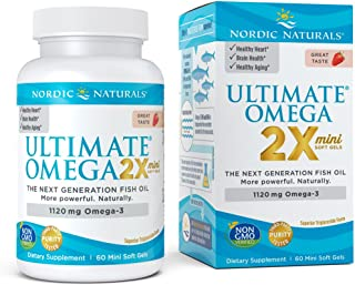 Nordic Naturals Ultimate Omega 2X Mini - Concentrated Omega-3 Supplement Supports Heart, Brain, and Immune Health, Strawberry Flavor, 60 Count