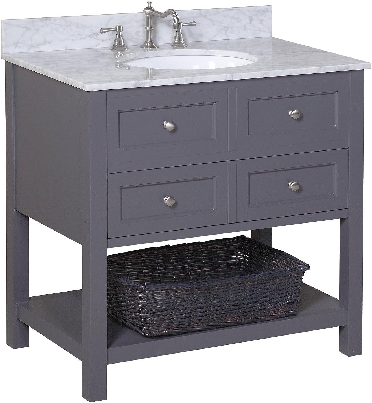 New Yorker 36-inch Bathroom Vanity (Carrara/Charcoal Gray): Incl