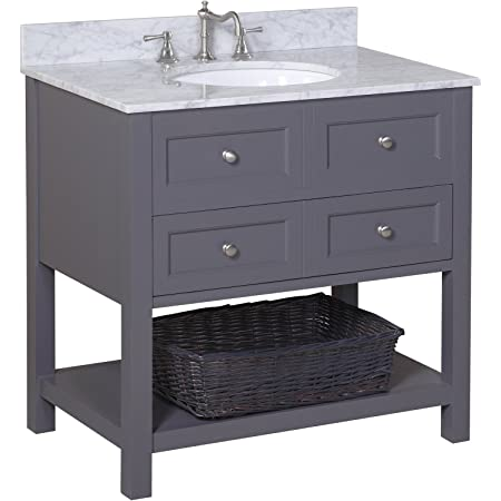 New Yorker 36-inch Bathroom Vanity (Carrara/Charcoal Gray): Includes Charcoal Gray Cabinet with Authentic Italian Carrara Marble Countertop and White Ceramic Sink
