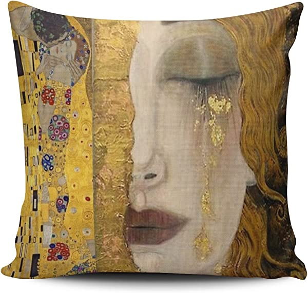 Hoooottle Custom Luxury Funny Colorful The Kiss By Gustav Klimt Square Pillowcase Zippered One Side Printed 18x18 Inches Throw Pillow Case Cushion Cover