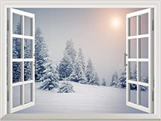 wall26 Removable Wall Sticker/Wall Mural - Pine Trees Covered by White Snow Out of The Open Window Wall Decorr - 36