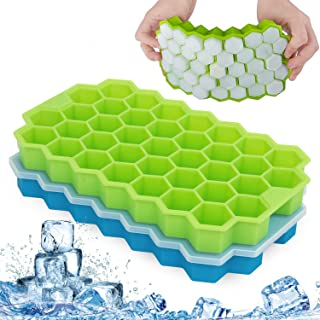 Ice Cube Tray, DELFINO Silicone Ice Cube Trays with No-Spill Removable Lid, Easy-Release and Flexible, BPA Free, Stackable...