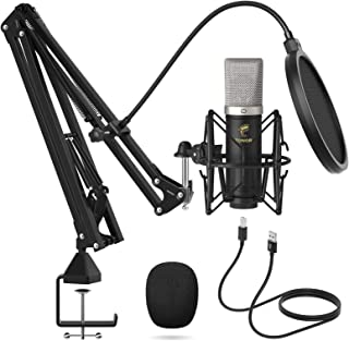 TONOR Cardioid Condenser Microphone, USB Computer Mic Kit with 24mm Diaphragm/Spider Shock Mount for Podcasting, Gaming, S...