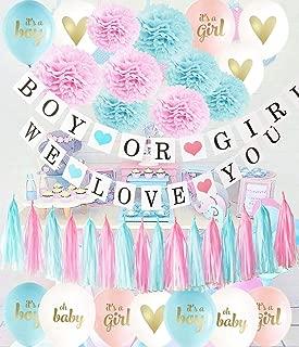 Gender Reveal Party Supplies Pink Blue Ballons/Tissue Pom Pom/Boy or Girl Banner Pink Blue Tassel Garland Birthday Party/Baby Shower Decorations/Pink Blue Decorations /Gender Reveal Decorations