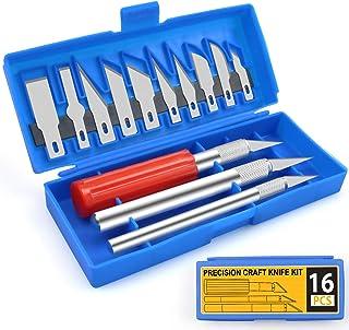 Precision 13Pcs Exacto Knife Kit ,Craft Knife Set,Pen Knife, Razor Knife, Hobby Knife,Leather Cutting Tool,Craft Knife, Ex...