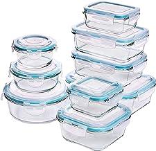 Recipiente - Contenedor de Almacenamiento de Alimentos de Vidrio - 18 piezas (9 envases + 9 tapas) Tapas transparentes - Sin BPA - Para la Cocina o el Restaurante de Uso Doméstico – por Utopia Kitchen