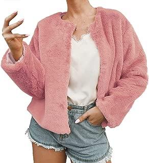 QIQIU Womens Winter Solid Short Warm Plush Fleece Long Sleeve Open Front Loose Jacket Coat Fuzzy Shaggy Outwear