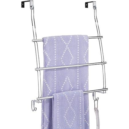 mDesign portemanteau pour porte, sans perçage – support de rangement à suspendre à la porte – avec 3 barres pour serviette, pullover & blouson – aussi parfait comme garde-robe pour couloir, en acier