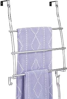 mDesign portemanteau pour porte, sans perçage – support de rangement à suspendre à la porte – avec 3 barres pour serviett...