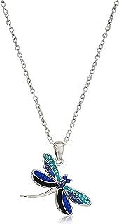 قلادة نسائية مطلية بالفضة من الكريستال الأزرق النغمي اليعسوب ، أزرق اللون، 18