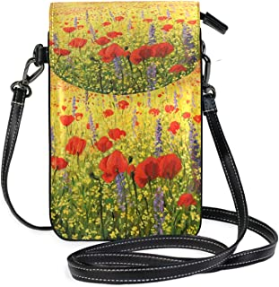 LORONA Red Poppies Cell Phone Purse Wallet for Women Girl Small Crossbody Purse Bags