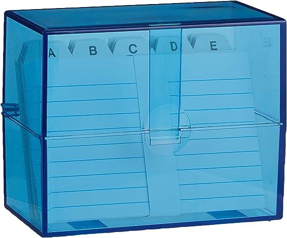 Wedo 2507303 Cajas de tarjetas DIN A7 transversales durante aprox. 200 tarjetas (de plástico translúcido azul, incl. 100 fichas y registros, 11.8 x 6.3 x 9.7 cm) blanco: Amazon.es: Oficina y papelería