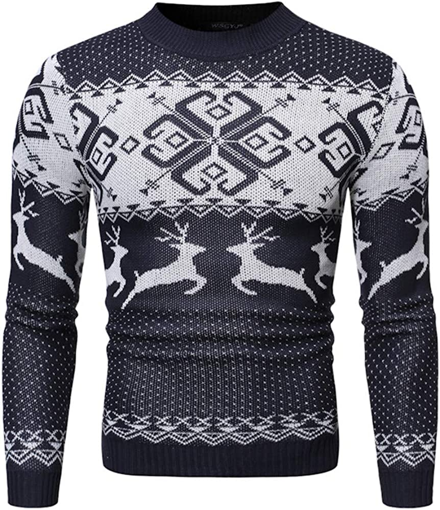 Christmas sweater snowflake fawn round neck casual male Sweatshirt