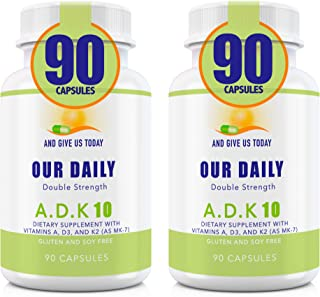 Our Daily Vites 2 PK ADK 10 Double Strength (10,000 iu) 180 Count Vitamins A1, D3 & K2 (as MK7) - Physician Formulated Bone, Heart & Immune System Support - Gluten Free,None GMO Vegetarian Capsules