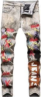 Men's Graffiti Printed Slim Fit Jeans
