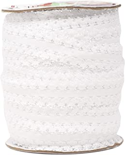 Mandala Crafts Elastic Lace Trim, Stretch Ribbon for Headbands, Lingerie, Garters, Thongs, DIY Crafting and Sewing (1 Inch, 55 Yards, White)