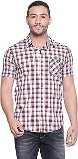 Mufti Red Half Sleeves Checkered Shirt