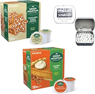 Limited Edition Green Mountain K Cups in a Holiday Flavor Bundle of Cinnamon Sugar Cookie and Pumpkin Spice with After Coffee Mints