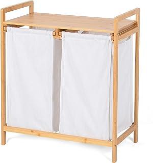 Panier à Linge Bambou Deux Compartiments Blanc, Meuble de Rangement en Bois pour Chambre à Coucher, 2 bacs.