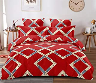 TIB Cotton 160 TC Fitted Bedsheet (Red_King)