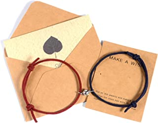 EXGOX Couples Bracelets Magnetic Mutual Attraction Matching Relationship Rope Adjustable Bracelets for Women Men Boyfriend...