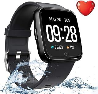 Reloj inteligente deportivo para hombres y mujeres, para niños, IP67, resistente al agua, con monitor de frecuencia cardíaca, monitor de presión arterial, monitor de sueño, podómetro, pulsera inteligente para regalos de cumpleaños.