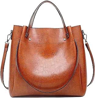 fashion Women Oil PU Leather Bucket Bag Top Handle Satchel Purses Crossbody Shoulder Handbags Tote Bags for Ladies