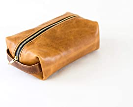 Horween Leather Dopp Kit - Toiletry Bag for Men and Women - Makeup Pouch, Pencil Case, Travel Bag