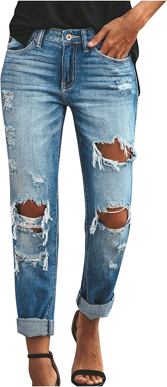 MIVAMIYA Women High Waist Skinny Stretch Ripped Boyfriend Jeans Casual Hole Denim Jeans Destroyed Cropped Pencil Jeans