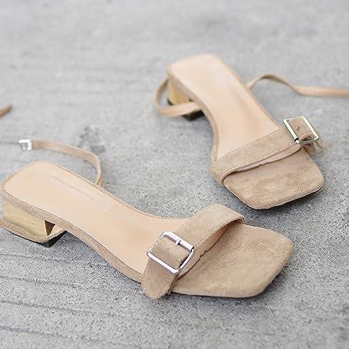 DIDIDD Moyen Et épais avec Rome Simples Chaussures de Fées Sauvages avec des Sandales,Abricot,35