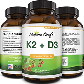 Vitamin D3 with K2 MK7 Supplement - Vitamin D3 5000 IU Capsules and Vitamin K2 for Immune Support Bone Health Heart Health...