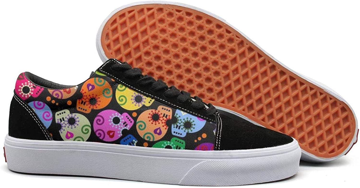 Winging Women Day of The Dead colors Skull Retro Suede Canvas shoes Old Skool Sneakers