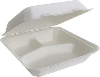 """Brheez 9""""x9""""x3"""" - 3 Compartment Bagasse Take-Out Natural Disposable Clamshell Lid Containers, Biodegradable, Compostable & Chemical Free - Pack of 50"""