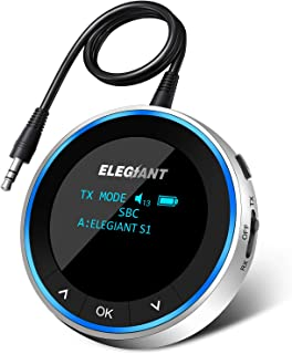 ELEGIANT Bluetooth 5.0 sändarmottagare, Trådlös ljudadapter med OLED skärm Trådlös splitter (AUX, RCA), Låg latens, Dual L...