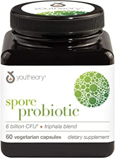Youtheory Spore Probiotic Advanced 60 Vegetarian Capsules (1 Bottle), No Refrigeration Required