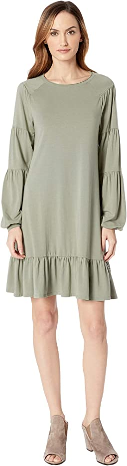 Cotton Modal Spandex Jersey Shirred Balloon Sleeve Dress with Ruffle Hem