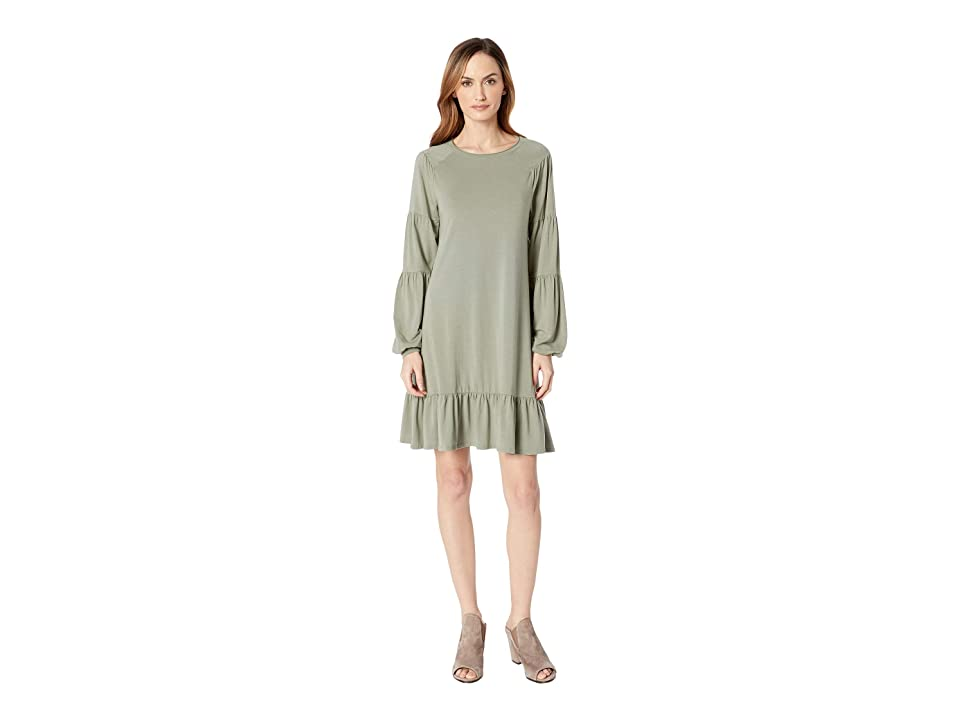 Mod-o-doc Cotton Modal Spandex Jersey Shirred Balloon Sleeve Dress with Ruffle Hem (Dusty Sage) Women