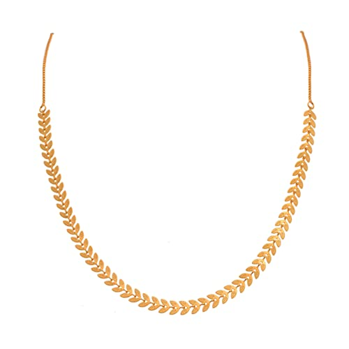 JFL - Jewellery for Less Ethnic Gold Plated Leaf Designer Chain for Women (1gm)