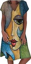 DAIFINEY Damesjurk, vrijetijdsjurk, creatieve print, knielange jurk, hemdjurk, V-hals, korte mouwen, casual jurk, alledaag...