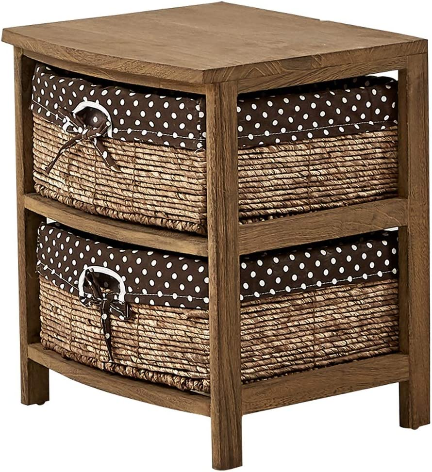 XIAOQIU Nightstand Bedside Table with and Shelf Fashionable Wooden N Drawers Branded goods