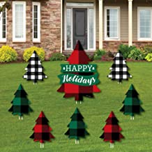 product image for Big Dot of Happiness Holiday Plaid Trees - Yard Sign and Outdoor Lawn Decorations - Buffalo Plaid Christmas Party Yard Signs - Set of 8