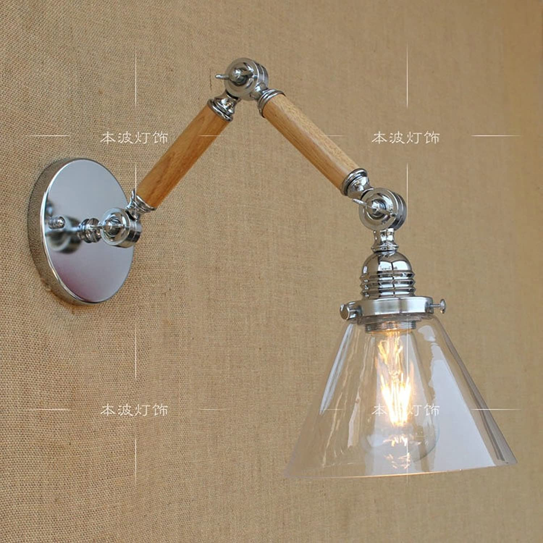 Pointhx Vintage Dazzling Einstellbare Eisen Wand Leuchte Glas E27 1-Licht Wandleuchte Laterne mit Holzschaukel Arm Schlafzimmer Wohnzimmer Lager Innenwandleuchte Lichter (Gre   15+15)